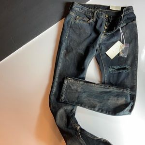 mnml Black Distressed Jeans, Button Fly, Zip Ankle